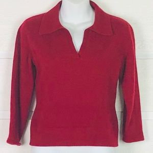 AUTUMN CASHMERE Red V-Neck Collared Sweater